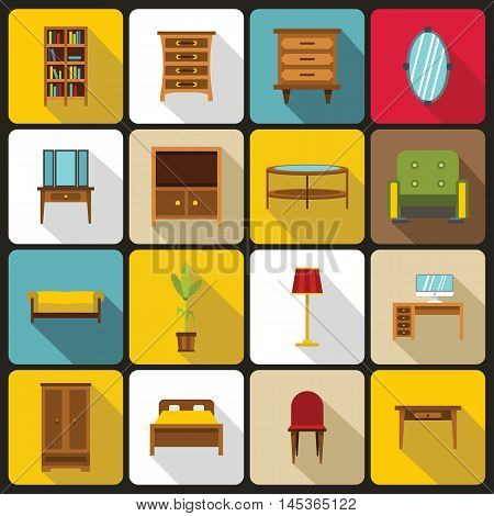 Furniture icons set in flat style. Interior decorations set collection vector illustration