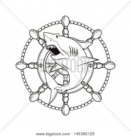 shark rudder cartoon pirate tattoo marine nautical icon. Black white isolated design. Vector illustration