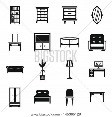 Furniture icons set in simple style. Interior decorations set collection vector illustration