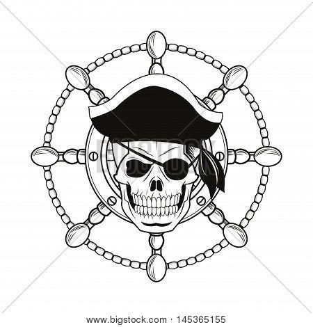 skull rudder cartoon pirate tattoo marine nautical icon. Black white isolated design. Vector illustration