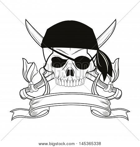 skull sword ribbon cartoon pirate tattoo marine nautical icon. Black white isolated design. Vector illustration