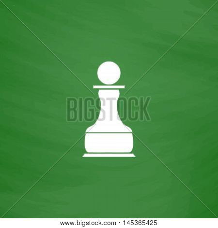 Chess Pawn Simple line vector button. Imitation draw with white chalk on blackboard. Flat Pictogram and School board background. Outine illustration icon
