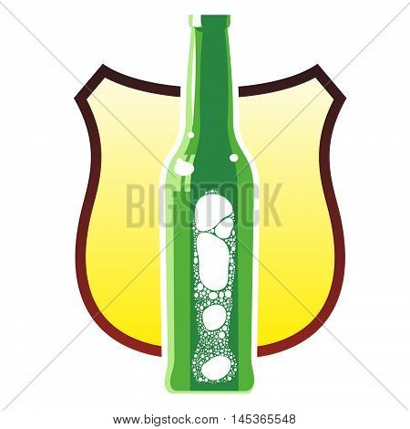 glass beer bottles with a foamy beer in three colors against the background of a heraldic shield