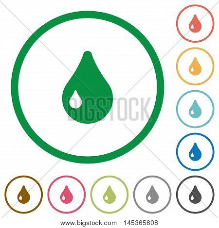 Set of drop color round outlined flat icons on white background