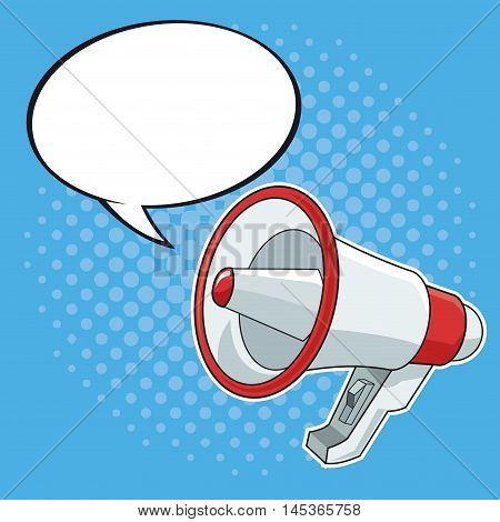 bubble speach message megaphone cartoon pop art comic retro communication icon. Colorful design. Vector illustration