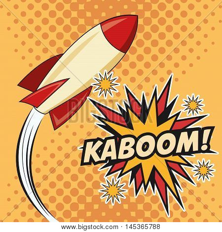 rocket spaceship kaboom boom explosion cartoon pop art comic retro communication icon. Colorful pointed design. Vector illustration