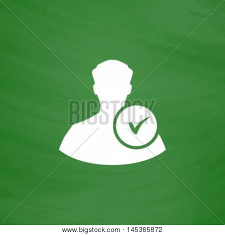 User Simple line vector button. Imitation draw with white chalk on blackboard. Flat Pictogram and School board background. Outine illustration icon