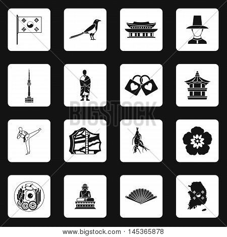 South Korea icons set in simple style. South Korea symbols set collection vector illustration