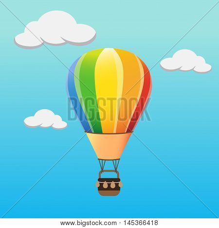 Colourful hot air balloon flying in the sky