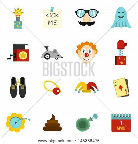 April fools day icons set in flat style. Prank playful actions set collection vector illustration