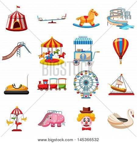 Amusement park icons set in flat style. Attraction park set collection vector illustration