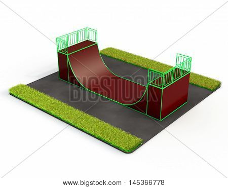 Skatepark on a background of asphalt and green grass. Youth subculture