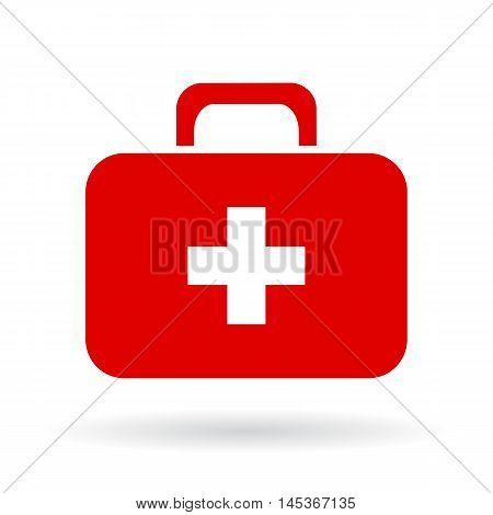 Doctor red toolkit icon vector illustration isolated on white background