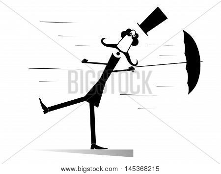 Windy day. Man taken up with the wind lost a top hat and tries to keep an umbrella