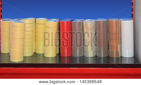 Big Piles of Sticky Packing and Adhesive Tape for Office