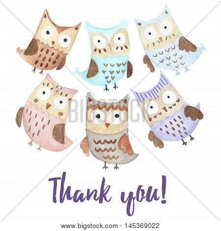 Thank you card with cute owls. Watercolor illustration