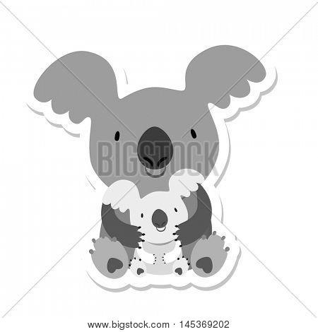 Koala Bear. Australian marsupial bear. Mom and baby. Vector Illustration.