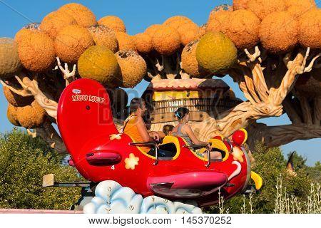 CASTELNUOVO DEL GARDA VERONA ITALY - AUGUST 28 2016: The famous theme park of Gardaland in Castelnuovo del Garda with the tree house of Prezzemolo and Volaplano Verona Italy