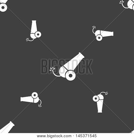 Cannon Icon Sign. Seamless Pattern On A Gray Background. Vector