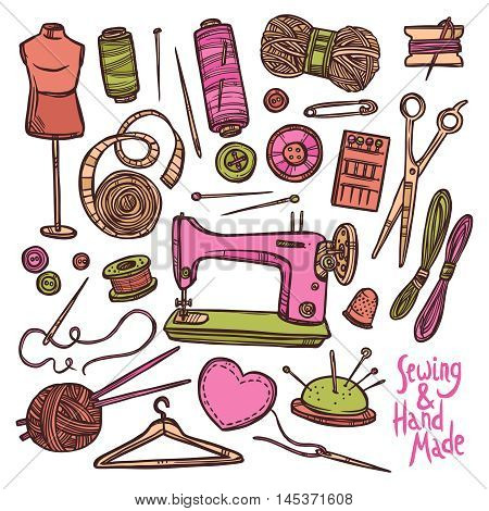 Seamless Color Pattern With Accessories And Equipment For Sewing