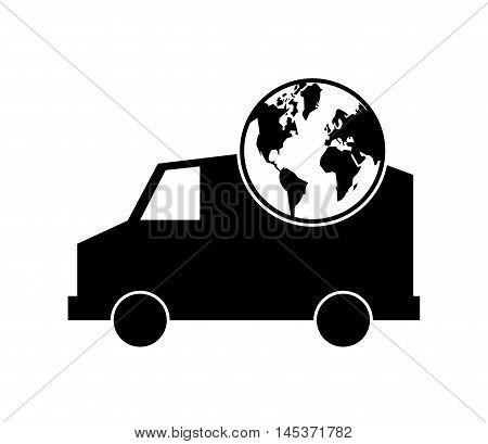 flat design truck or van and earth globe icon vector illustration