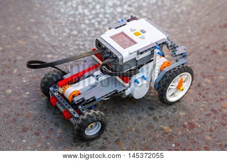 Sofia, Bulgaria - August 28, 2016: Toy robot made from toy plastic colorful blocks. Car robot toy.