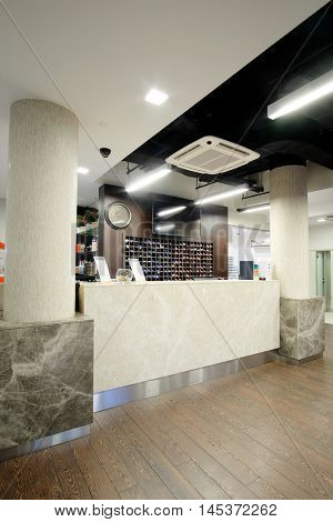 Reception of a fitness center, spa, swimming pool and so on