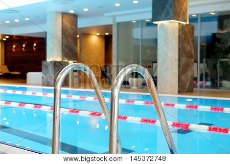 banisters in a swimming pool