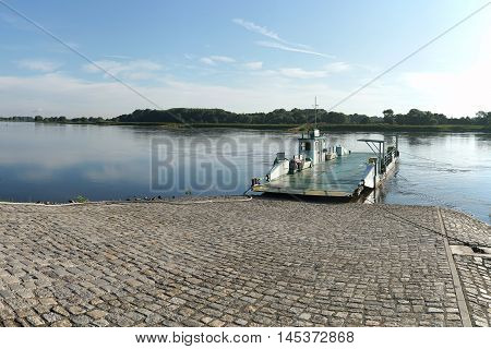 Ferry boat on the banks of the Elbe River near Magdeburg