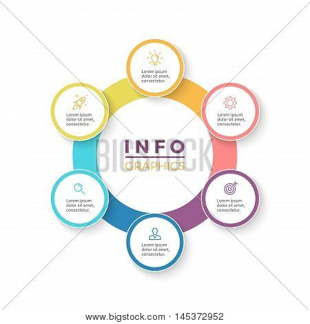 Six steps infographics. Diagram with 6 parts. Vector design element.