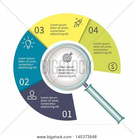 Circular diagram in form of a magnifier. Chart with 4 parts. Vector templates.