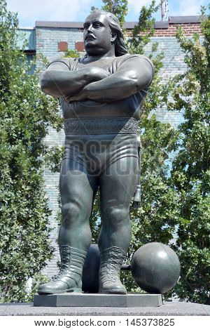 MONTREAL CANADA 08 15 2016: Louis Cyr was a French Canadian strongman according former International Federation of BodyBuilding & Fitness chairman Ben Weider, the strongest man ever to have lived
