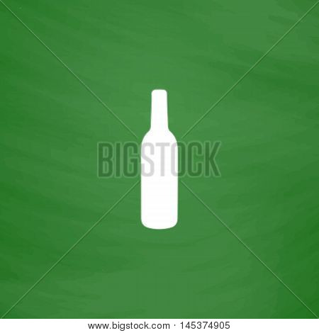 alcohol bottle Simple line vector button. Imitation draw with white chalk on blackboard. Flat Pictogram and School board background. Outine illustration icon