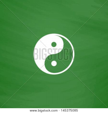 Ying-yang Simple line vector button. Imitation draw with white chalk on blackboard. Flat Pictogram and School board background. Outine illustration icon