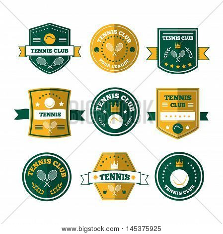 Tennis sporting vintage emblems, labels or logos designs for sport club and tournament with rackets, balls, ribbon banners, stars or shield