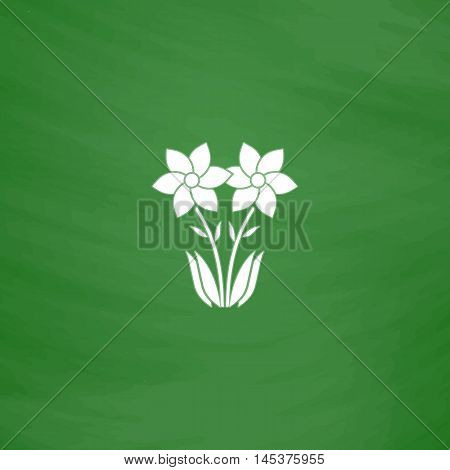 Flower Simple line vector button. Imitation draw with white chalk on blackboard. Flat Pictogram and School board background. Outine illustration icon
