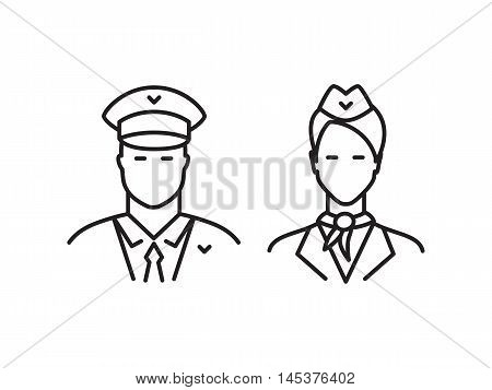 Pilot and stewardess line icons isolated on a white background