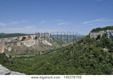 View of the mountain plateau canyon Kacha Ukraine Crimea