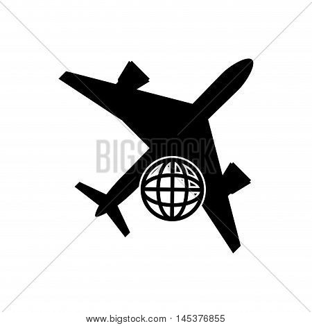 flat design earth globe diagrama and airplane icon vector illustration