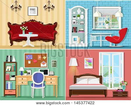 Stylish graphic rooms set: living room, bedroom, home office. Colorful vector furniture. Room interiors.