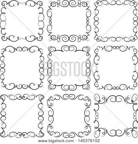 Set of 9 elegant decorative vector frames.