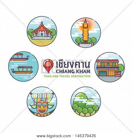 Vector Illustration of Chiang Khan Colorful Icons,Thailand Travel Destination Concept.Trendy Linear Style. Thai Alphabet is the Name of the Place Chiang Khan.