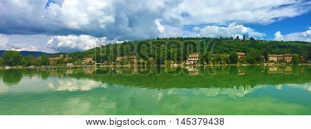 Panoramic view of Isola Maggiore in Lake Trasimeno, central Italy