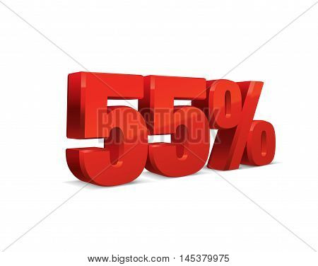 55 percent off, sale background, red object 3D. Eps10 Vector.
