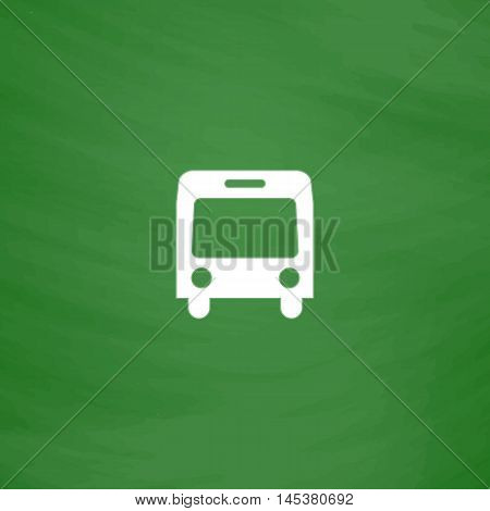 autobus Simple line vector button. Imitation draw with white chalk on blackboard. Flat Pictogram and School board background. Outine illustration icon