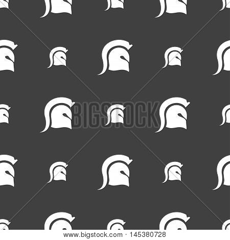 Spartan Helmet Icon Sign. Seamless Pattern On A Gray Background. Vector
