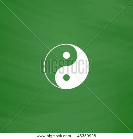 Ying yang Simple line vector button. Imitation draw with white chalk on blackboard. Flat Pictogram and School board background. Outine illustration icon