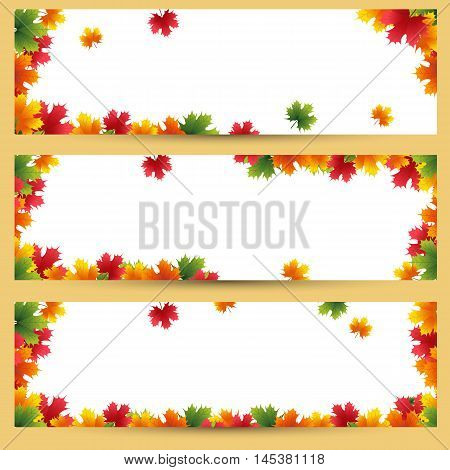 Autumn banners with maple leaves background Golden autumn season