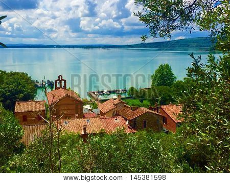 View from the top of Isola Maggiore in Lake Trasimeno, Umbria, central Italy