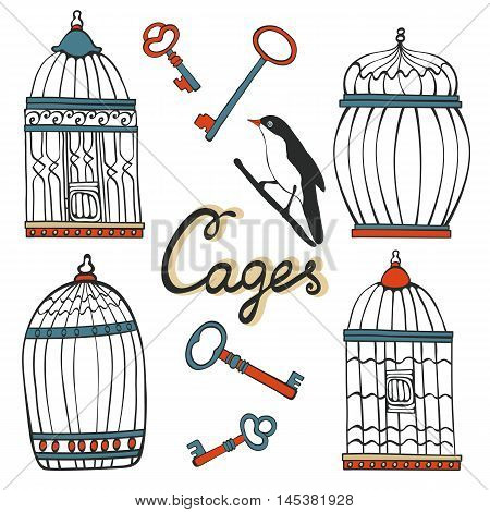 Beautiful collection of hand drawn cages. Illustration in vector format